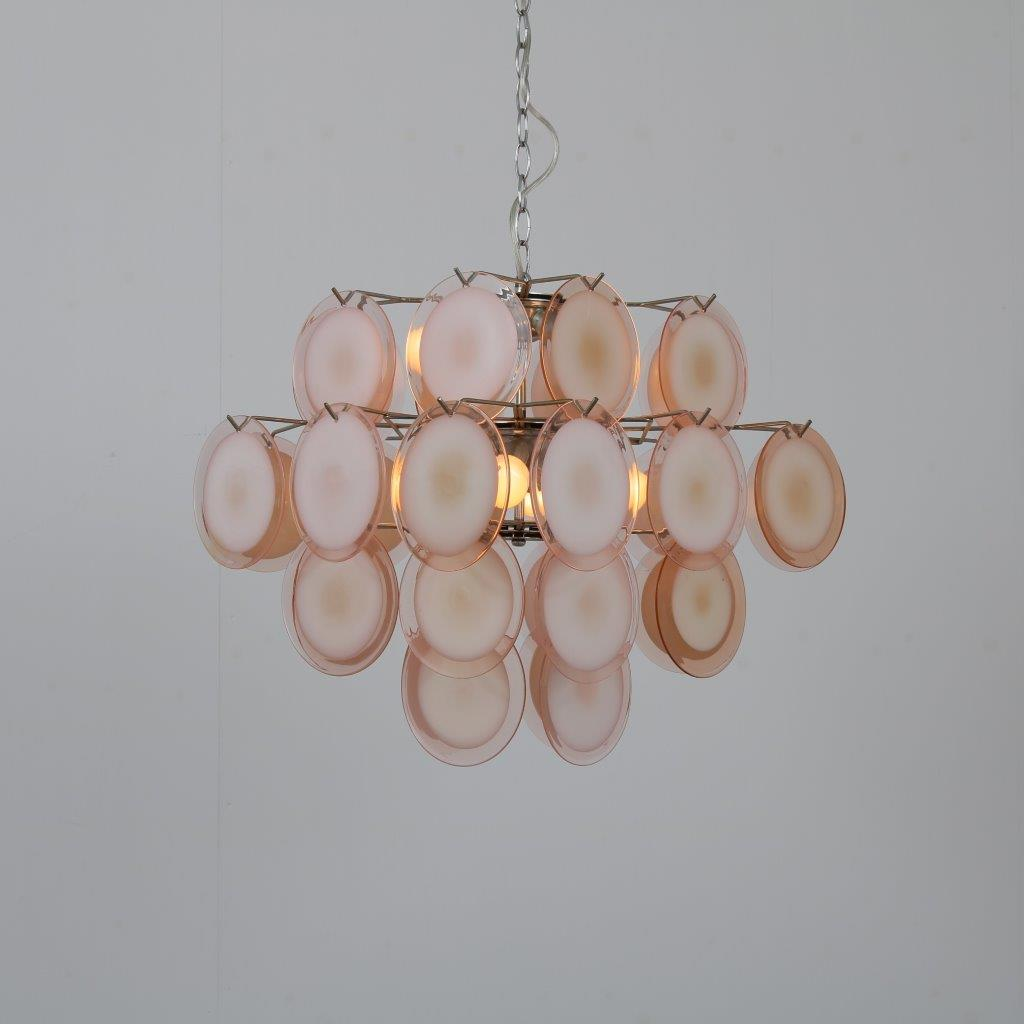 L4418 1970s Large chandelier with 32 Murano glass disks Gino Vistosi Vistosi / Italy