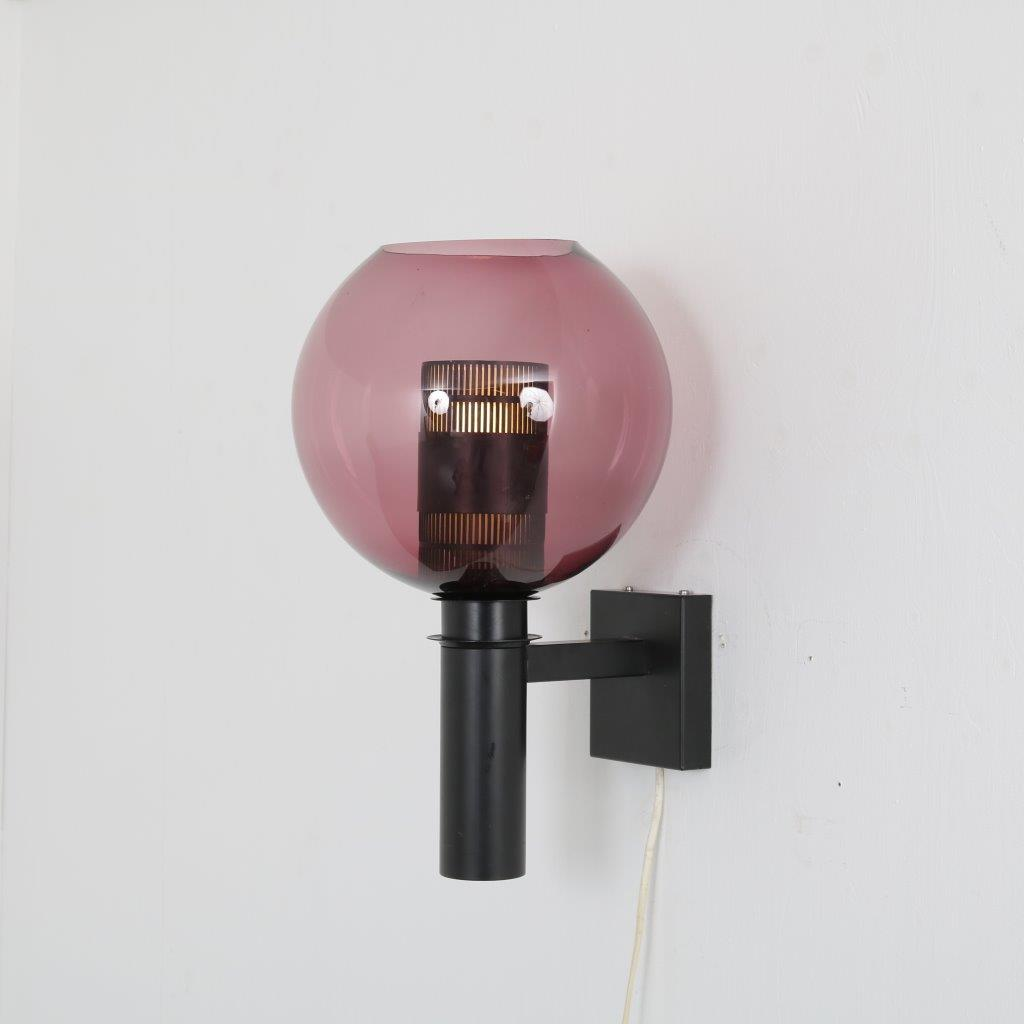 L4349 1960s Wall lamp black metal base with round purple glass ball Philips / Netherlands