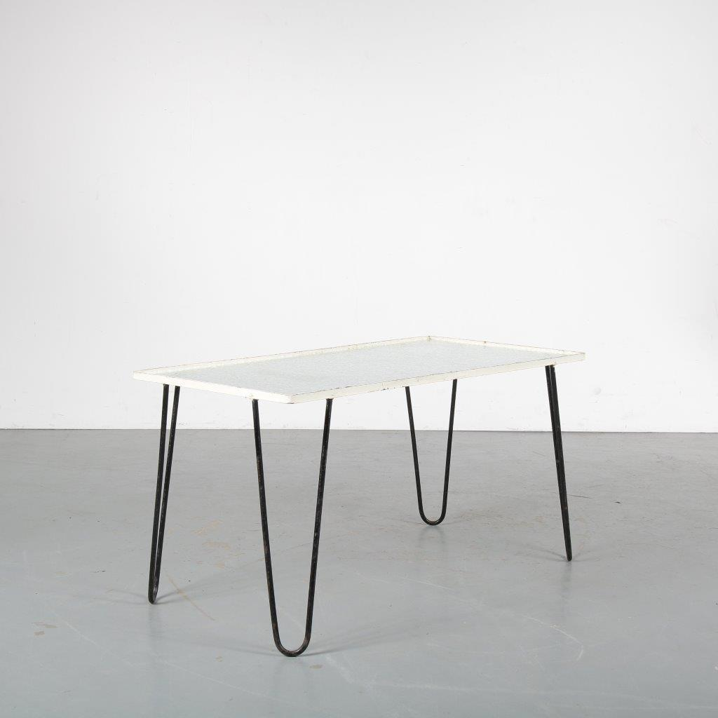 m22724 1950s Rectangular coffee table on black metal hairpin legs with safety glass top Netherlands