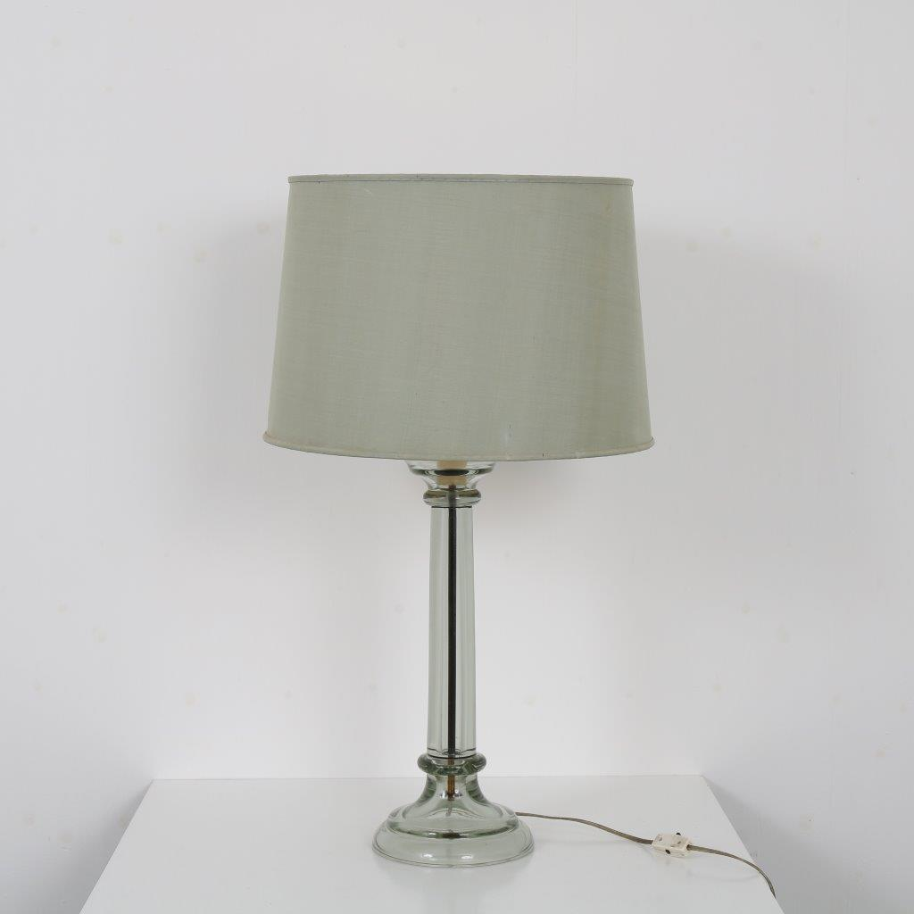 L4368 1960s Large table lamp clear glass base with green fabric hood