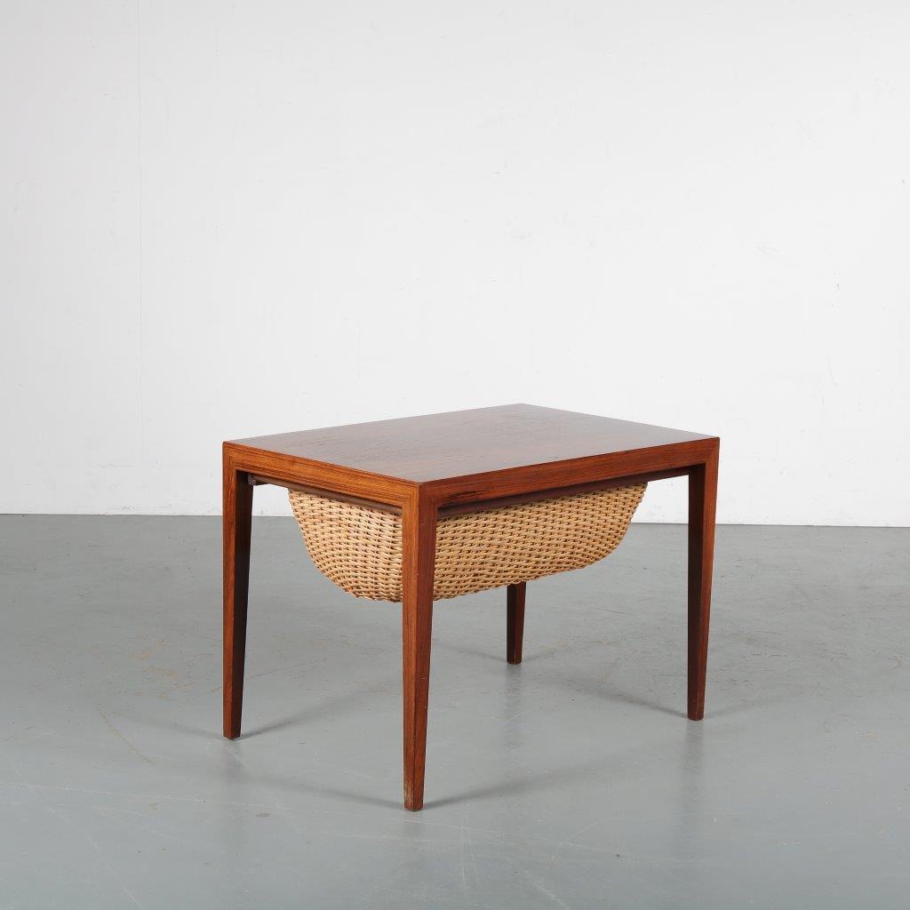 m23542 1950s Rosewooden Danish sewing box Severin Hansen Haslev / Denmark