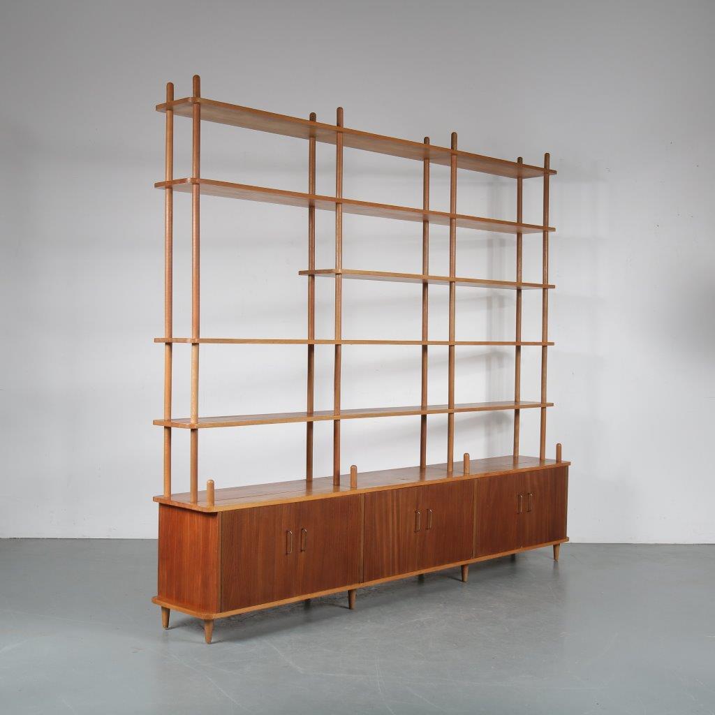 m24025 1950s Large stick cabinet with three storage units, teak with birch Netherlands