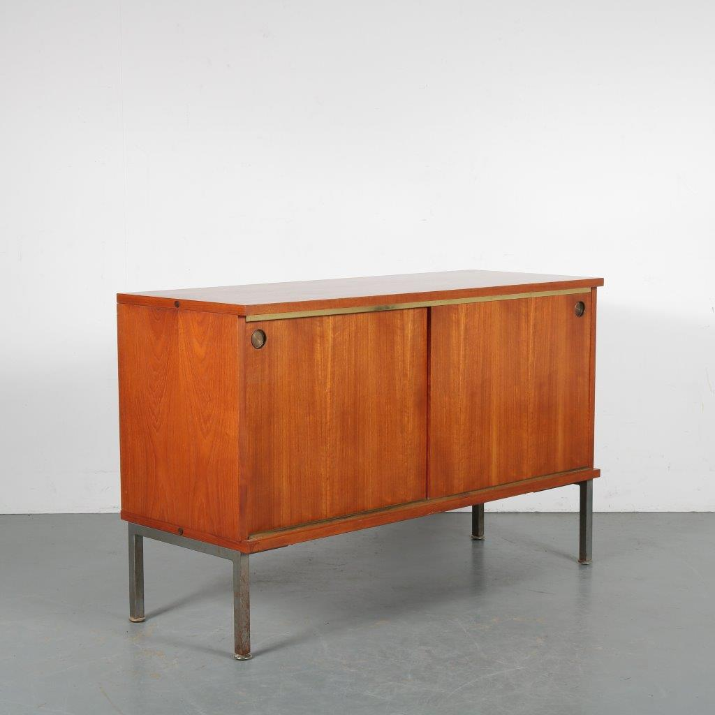m23981 1950s Small sideboard with two sliding doors on metal base with brass details Louis Paolozzi France