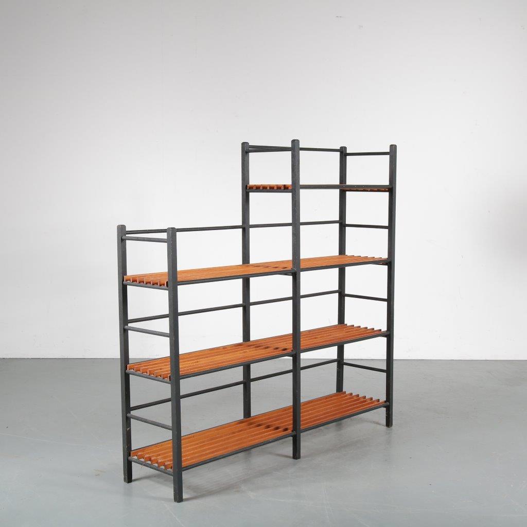 m24010 1950s Book rack in black wood with teak slates Netherlands