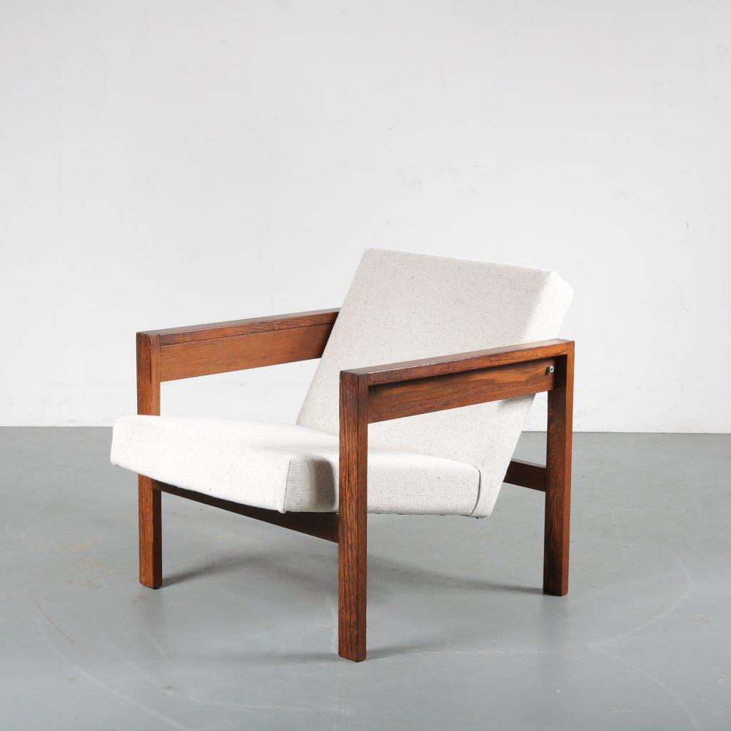 m23919 1960s Wengé wooden easy chair with new upholstery Hein Stolle Spectrum / Netherlands