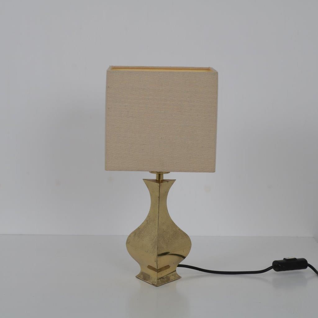 L4497 1970s Small brass table lamp with fabric hood attributed to Maria Pergay France