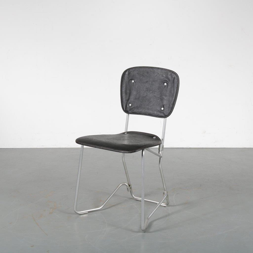 m24143-72 1950s Aluflex chair in aluminium with black skai upholstery Armin Wirth Aluflex / Switzerland