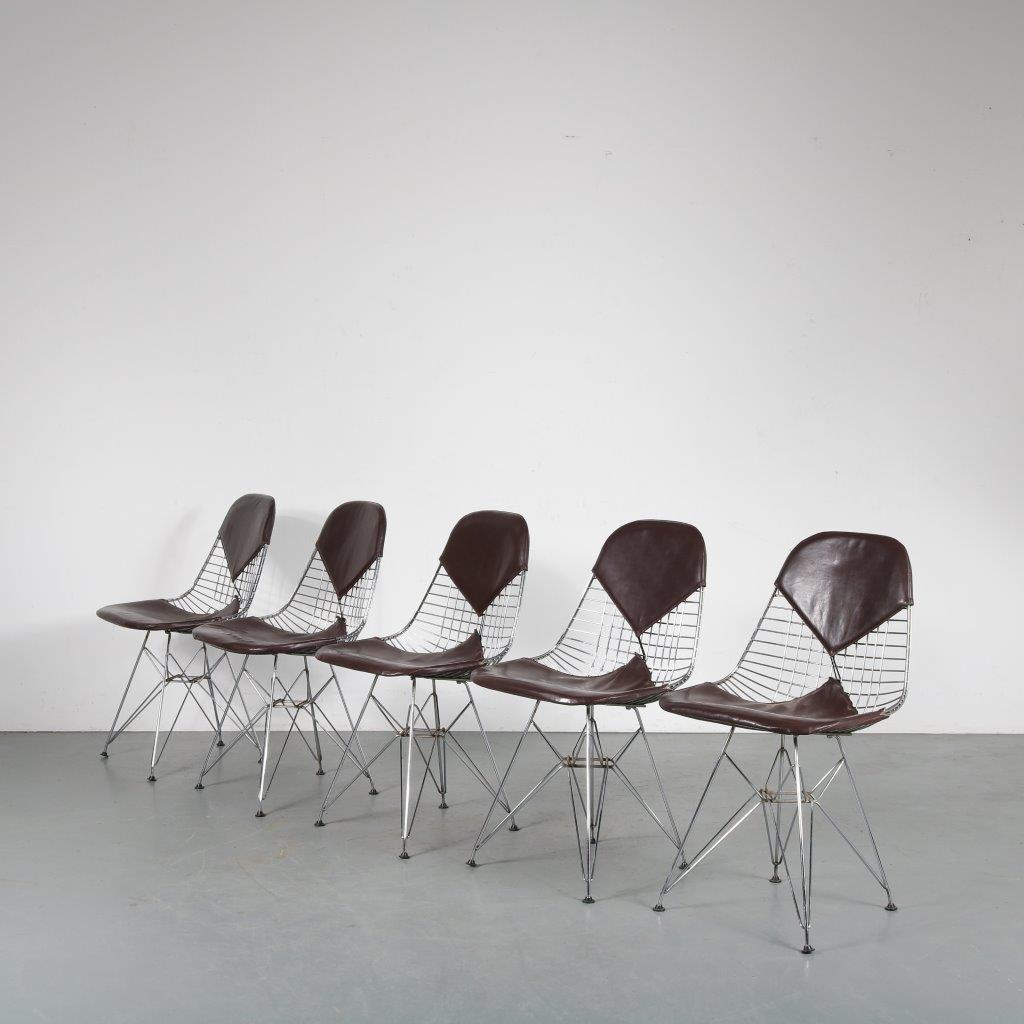 m23931 1960s Set of 5 chrome wire dining chairs with brown skai bikini upholstery Eames Herman Miller / USA