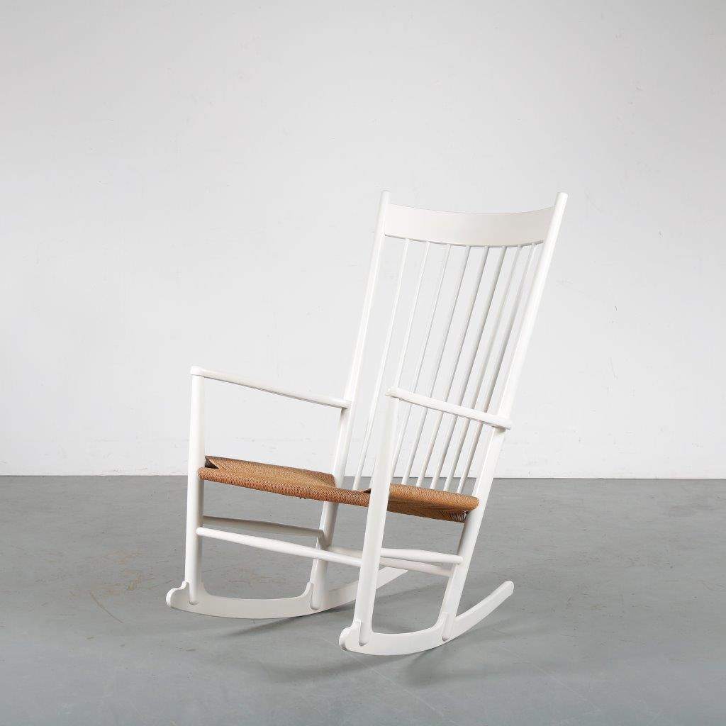 m23923 1960s Comfortable white wooden rocking chair with original papercord upholstery Hans J. Wegner FDB Mobler / Denmark