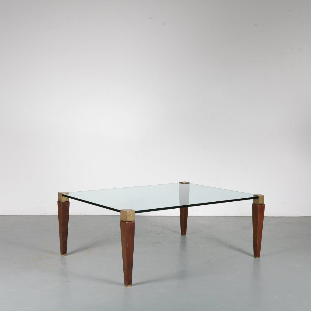m23727 1970s Large square coffee table, wood with brass legs and glass top Peter Ghyczy Ghyczy / Netherlands