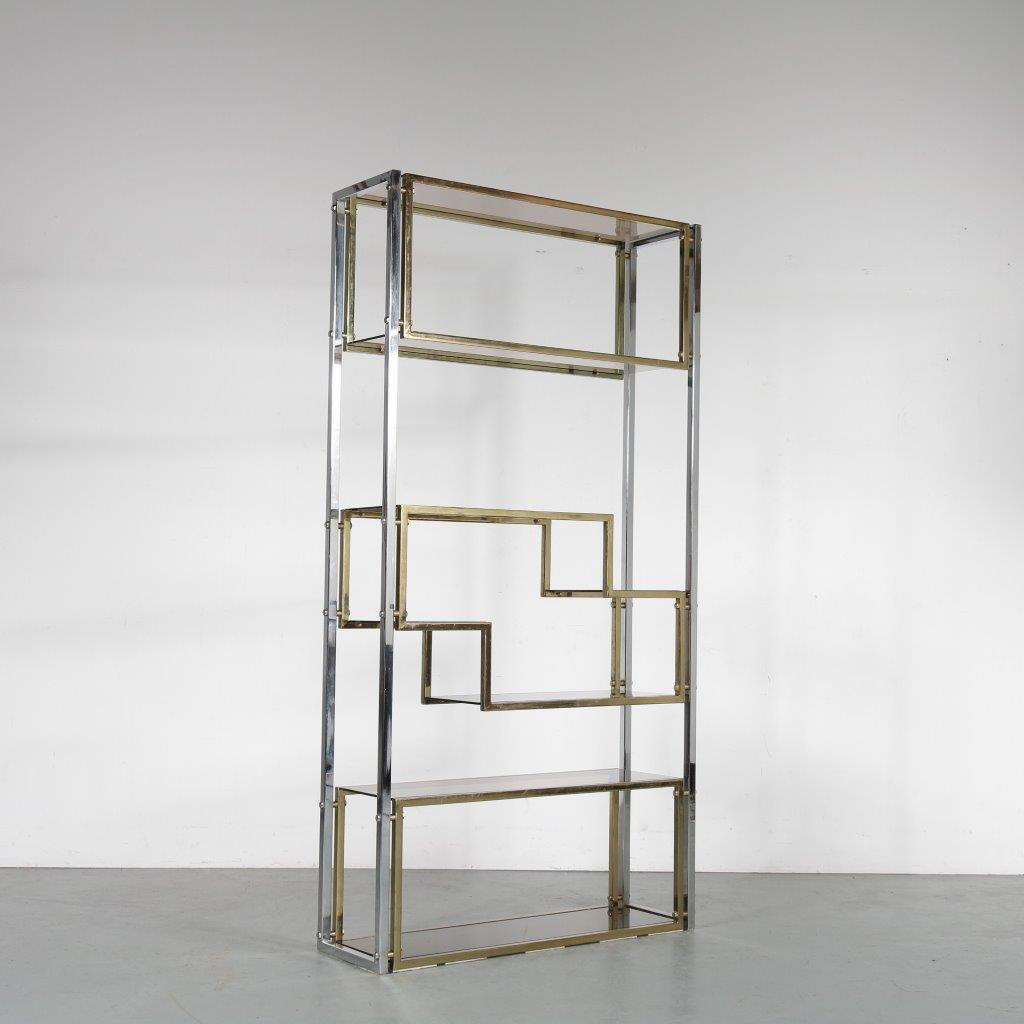 m24054 1970s Chrome with brass and smoke glass room divider / cabinet in the style of Romeo Rega Italy