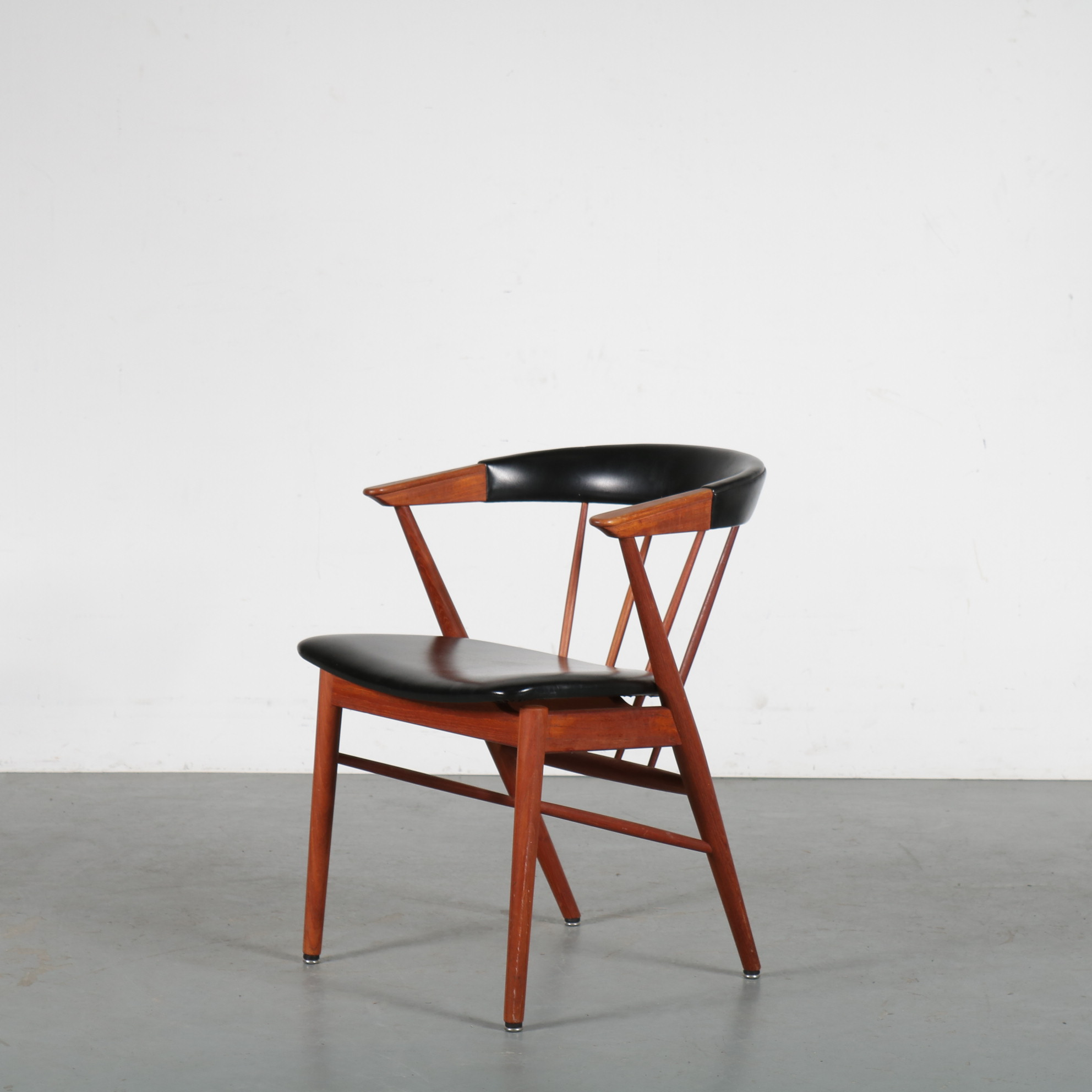INC68 1950s Danish side chair in teak with black skai upholstery Paul Helge Siebast Sibast / Denmark
