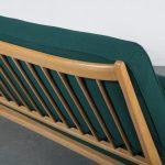 1950s Unique styled birch sofa on scissor shaped base
