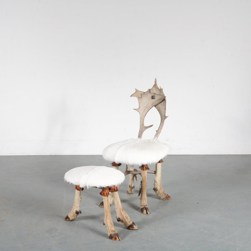 1950s Trophy chair and stool