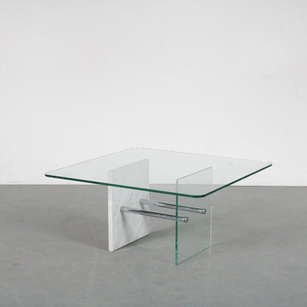 m24044 1970s Square coffee table on chrome with marble base with glass top Saporiti / Italy