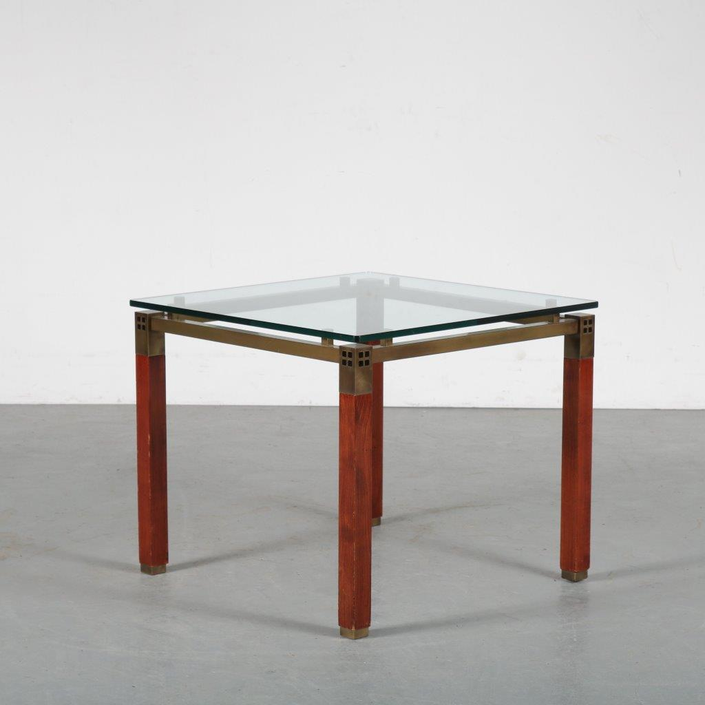 m24007 1980s Small side table on wooden with brass legs and glass top Peter Ghyczy Ghyczy / Netherlands