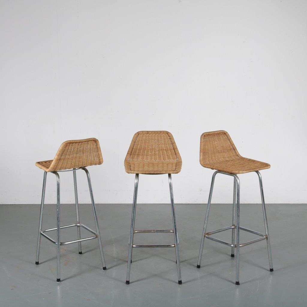 m24098 m24099 m24100 1950s Wicker bar stools Dirk van Sliedregt Rohé Netherlands