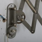 L4168 1950s Industrial style scissor wall mounted lamp in grey metal Germany