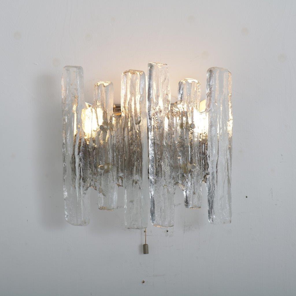 L4462 1970s Iced glass wall lamp J.T. Kalmar Kalmar Design / Austria