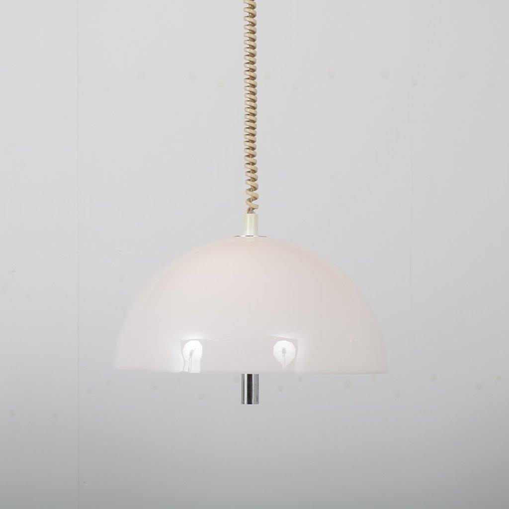 L4484 1970s Adjustable hanging lamp in chrome metal with white perspex hood Raak / Netherlands