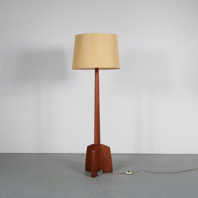 L4485 1950s Floor lamp on solid teak rocket shaped base with fabric hood USA