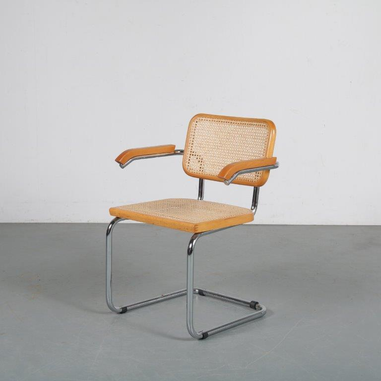 m24281 1970s Cesca chair designed by Marcel Breuer, manufactured in Italy