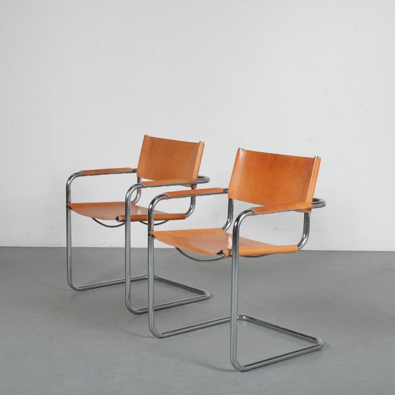 m24280 1970's set of two Mart Stam style side chairs chroom metal with cognaq leather upholstery Italy