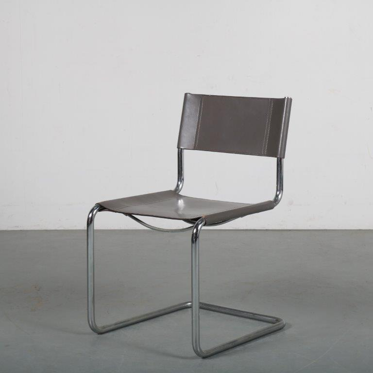 m24043 1980s Pipe frame side chair with grey neck leather upholstery Marcel Breuer Thonet / Germany