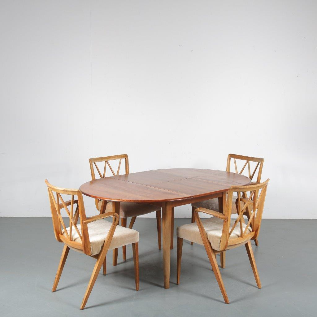 m24279 1950s dining set extandable table with four chairs A.A. Patijn Zijlstra Joure / NL