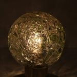 L4429 1970s Small table lamp on brass base with thick glass ball shade Doria / Germany