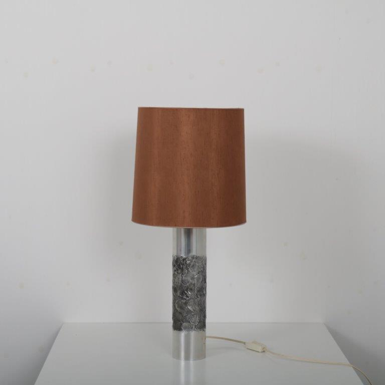 m23746 1960s Aluminium table lamp with fabric hood Willy Luyckx Aluclair / Belgium