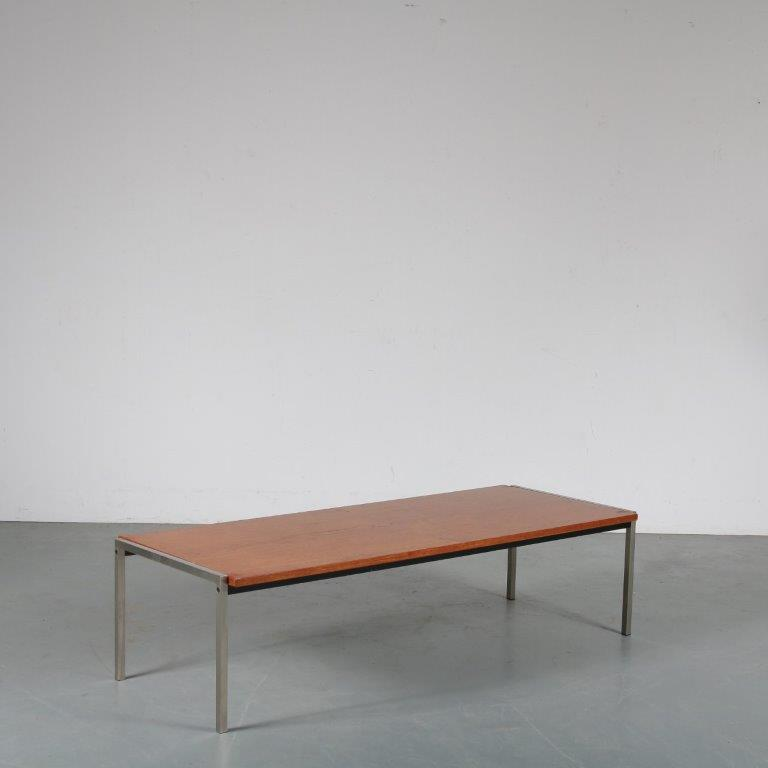 m23703 1960s Rectangular coffee table with reversible top in white and teak wood on chrome metal base Netherlands