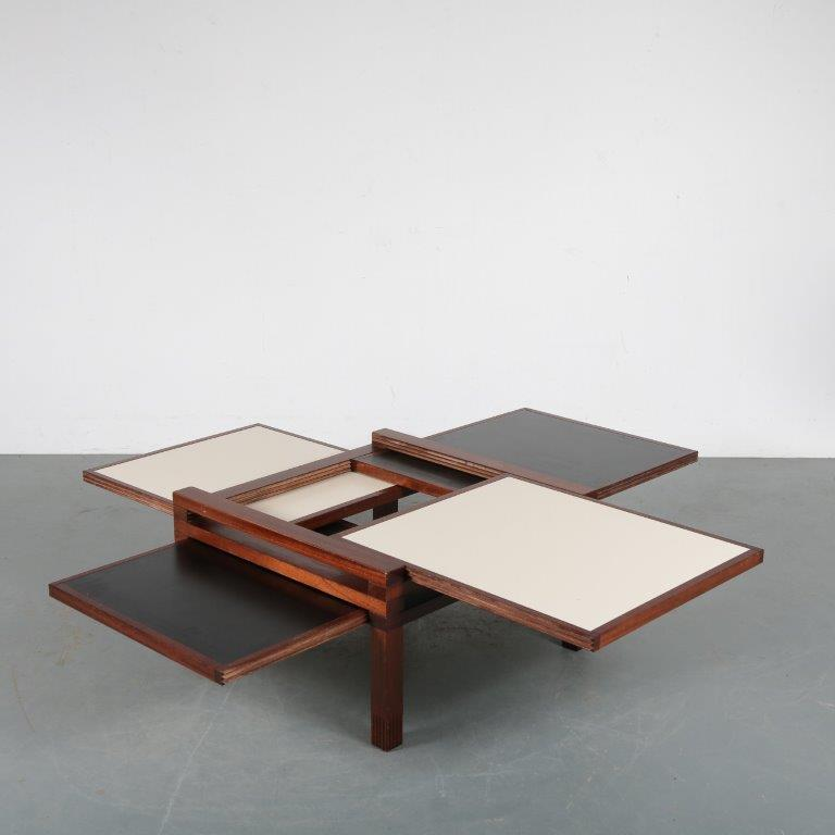 m24206 1980s Coffee table with several adjustable tops / shelves Bernard Vuarnesson Belatto / Italy