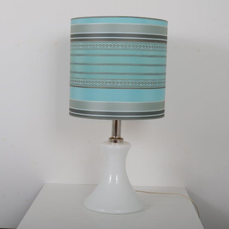 L4457 1960s White glass table lamp with chrome details and fabric hood Ingo Maurer M-Design / Germany