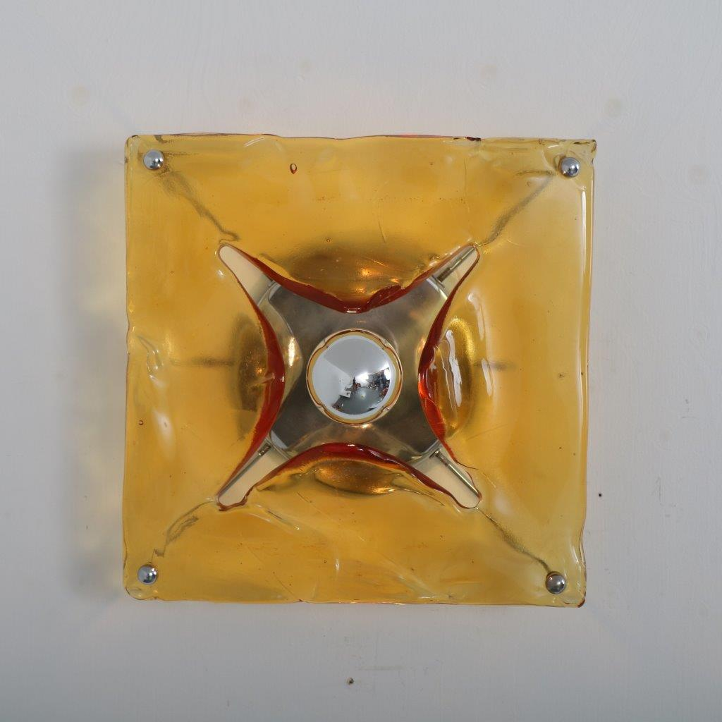 L4395 1970s Square wall lamp in Murano glass with chrome metal base Mazzega / Italy