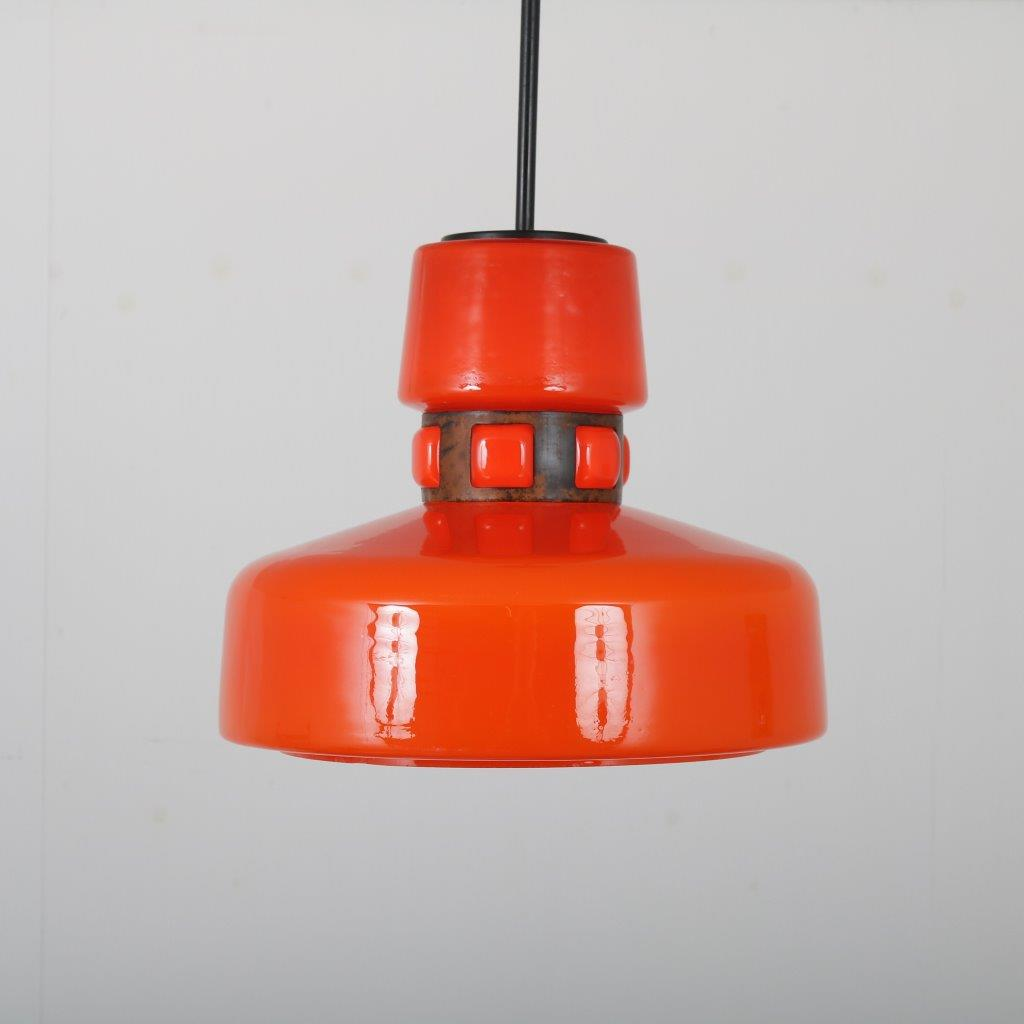 L4500 1960s Orange glass hanging lamp with copper details