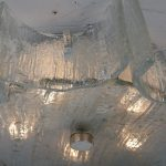 L4463 1960s Ceiling lamp in iced glass Kaiser Leuchten / Germany