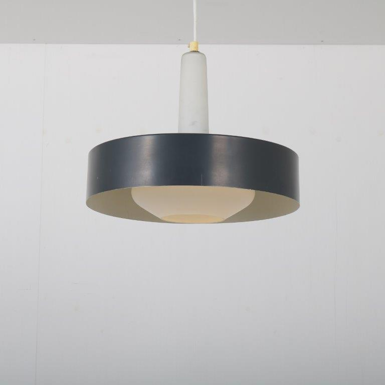 L4428 1960s Hanging lamp with white milk glass inside and black metal shade Philips / Netherlands