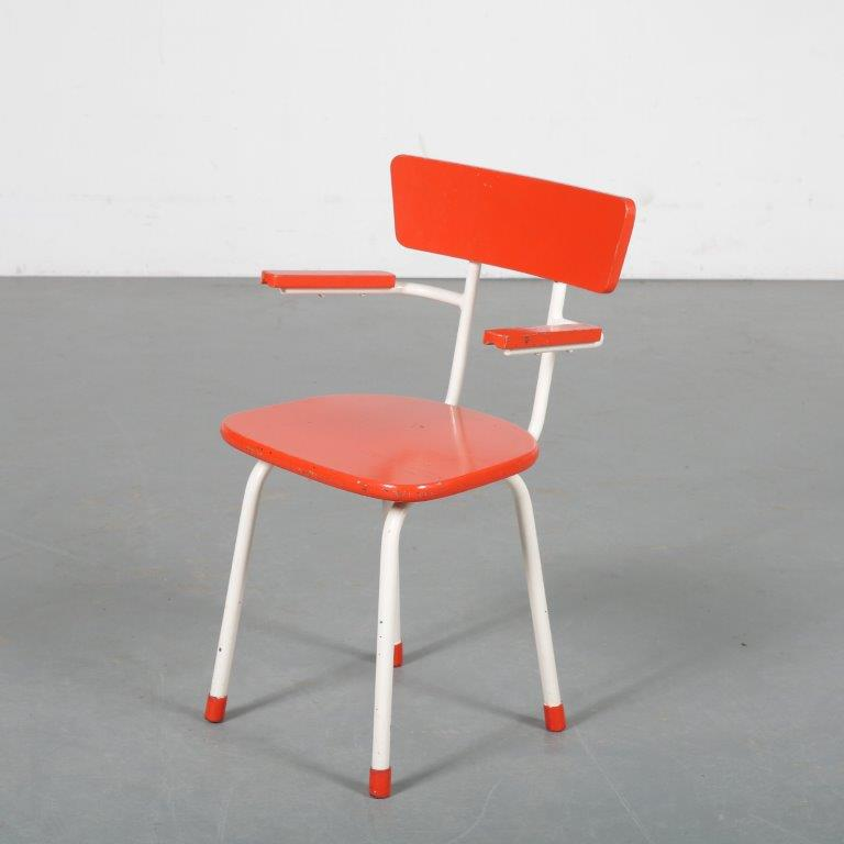m23761 1950s Children chair white metal frame with red wooden seat and back