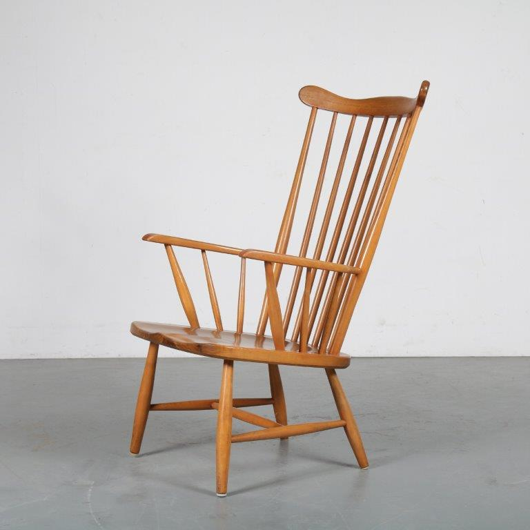 m24174 1950s Birch spokeback easy chair with teak seat Sweden