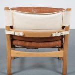 m24202 1960s Beech wooden easy chair with cognac leather cushions Norway