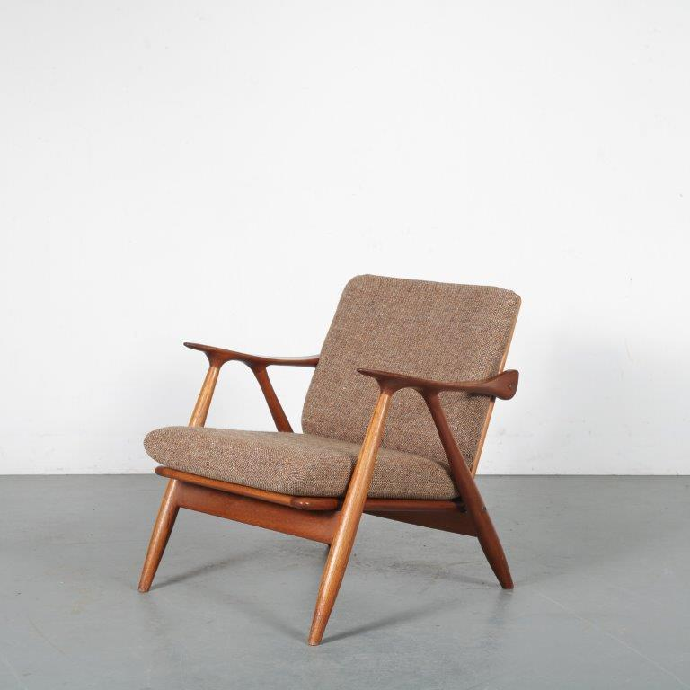 m23836 1950s Teak easy chair with brown fabric upholstery De Ster / Netherland