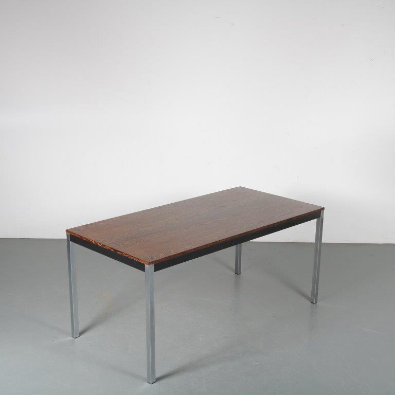 m23920 1960s Rectangular dining table on chrome with black metal base and wengé top Cordemeijer Gispen / Netherlands