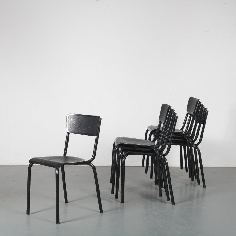 m24290 1960s set of 8 stacking chairs black metal frame with black plastic seat and back rest pierre guariche Meurop Belgium