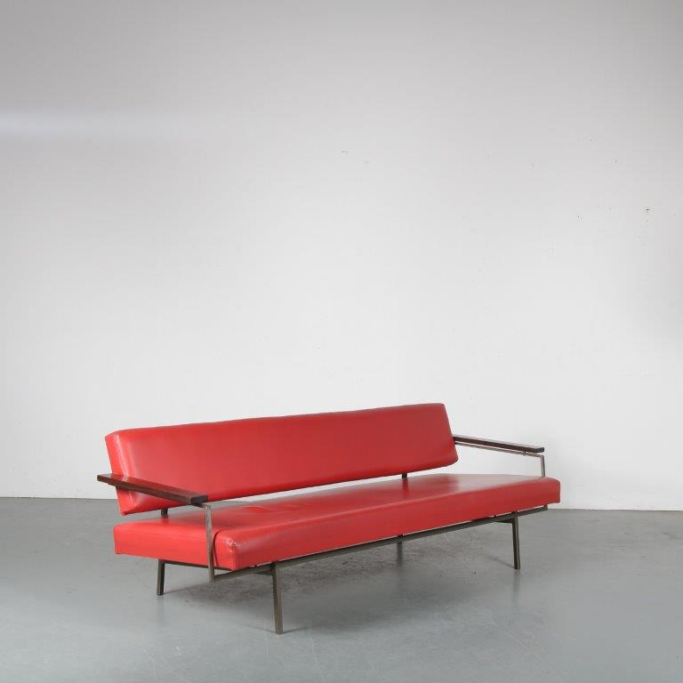 m24274 1950s three seater sofa / sleeping bench on grey metal base with rosewood armrests and red leather upholstery Rob Parry Gelderland/NL