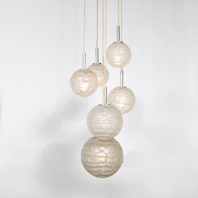 L4460 1960s Hanging lamp with six glass balls Doria Leuchten / Germany