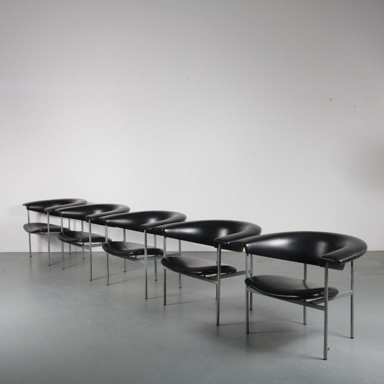 m24318 - m24322 1950s easy chair model meander grey metal base with black sky upholstery Rudolf Wolf Gaasbeek en van Tiel / NL