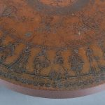 m24273 1970's Italian round coffee table with copper etched top Italy