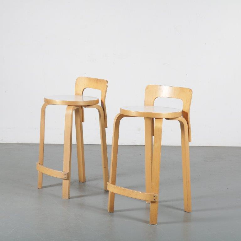m24339 1960s birch bar stool with white seat Model K65 Alvar Aalto Artek / Finland