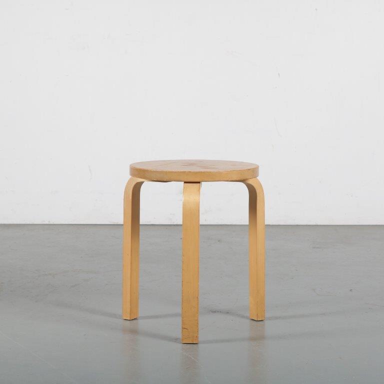 """m24336 1960s """"Model 60"""" stool by Alvar Aalto for Artek, Finland"""